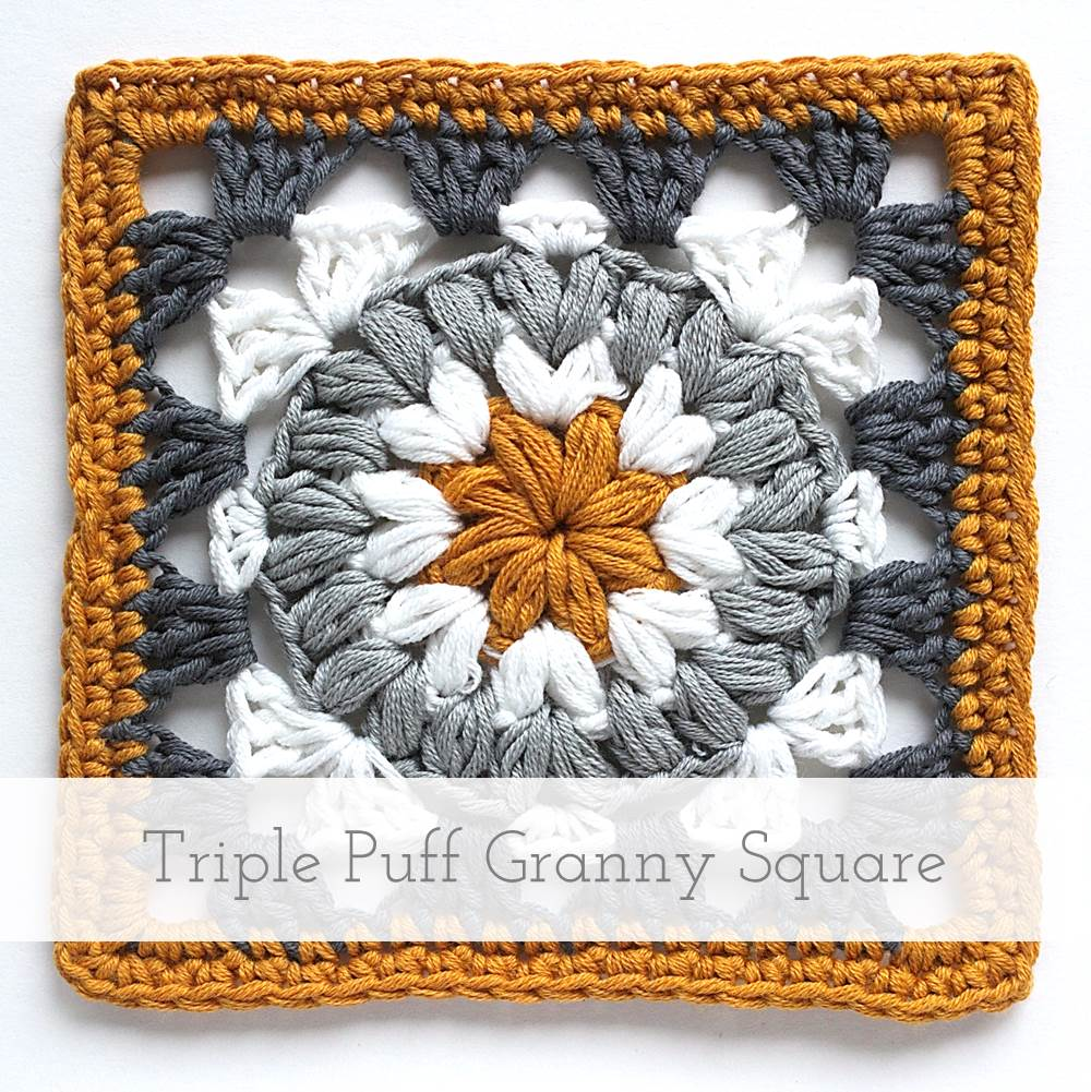 Triple Puff Granny Square | Free pattern + tutorial