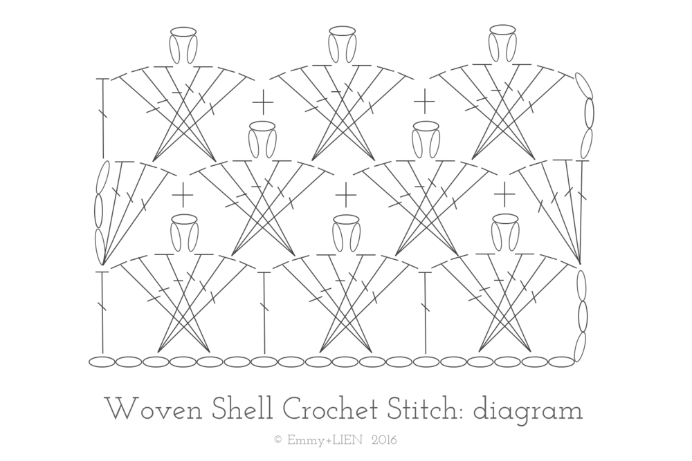 Crochet Chain Stitch Diagram : TUTORIAL: Woven Shell Crochet Stitch ? Emmy + LIEN