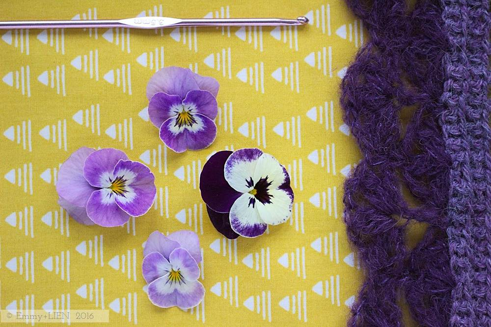 Violas and a new crochet scarf: a sure sign of spring