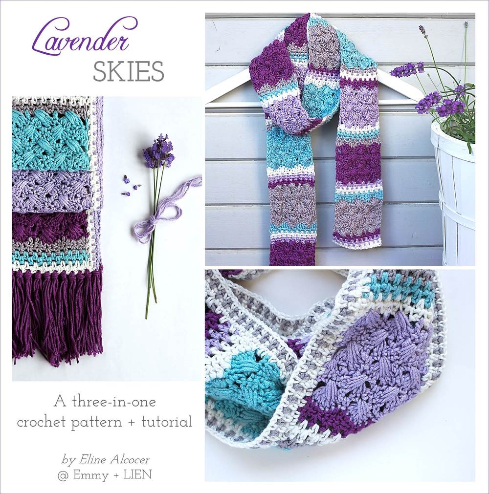 Cover image for the Lavender Skies Scarf pattern by Eline Alcocer