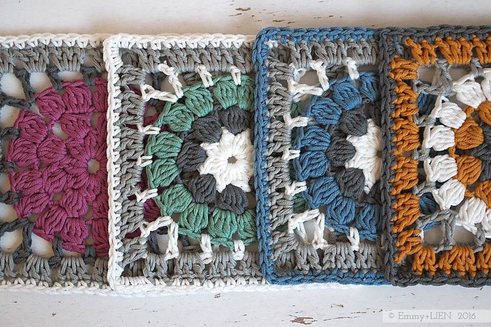 Dally Dahlia granny square, full colour scheme | free crochet pattern and tutorial from the Emmy + LIEN blog
