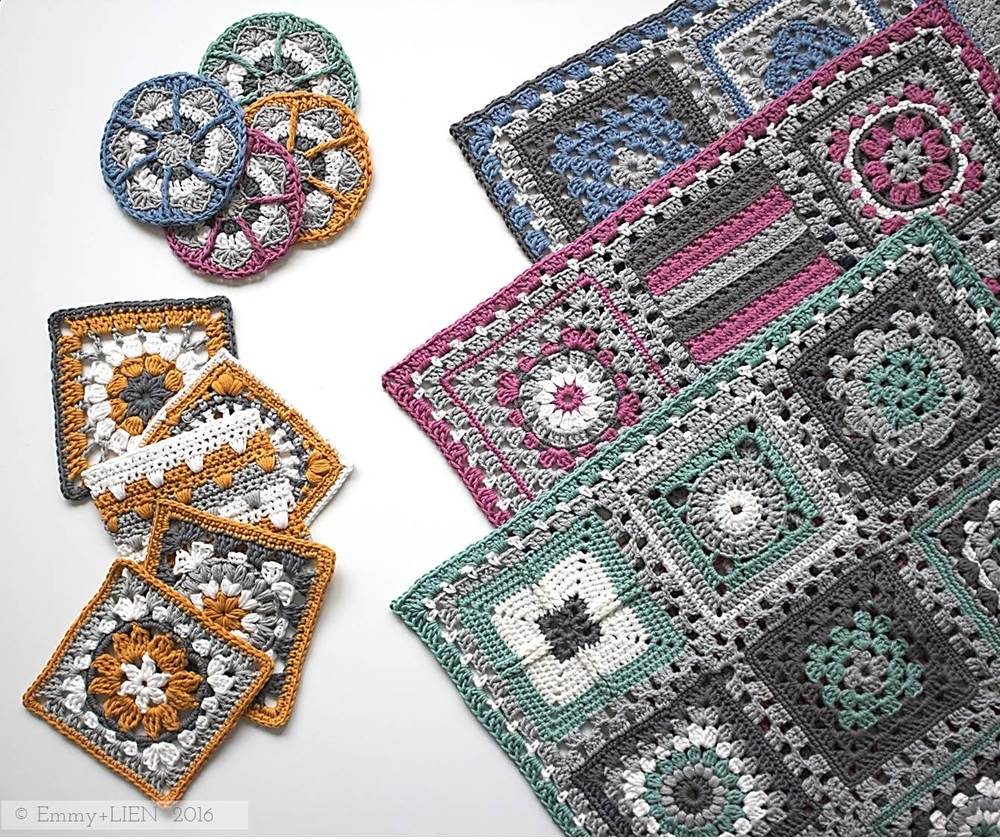 Crochet meets Patchwork blanket in progress | Design by Eline Alcocer at Emmy + LIEN