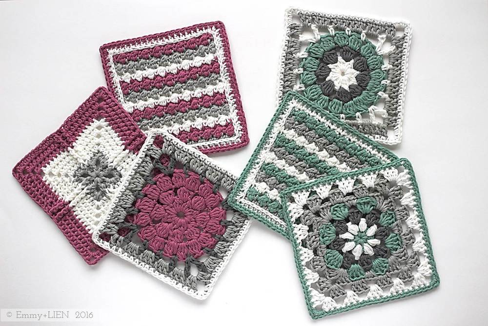 Crochet meets Patchwork Blanket by Emmy + LIEN | green and fuchsia squares