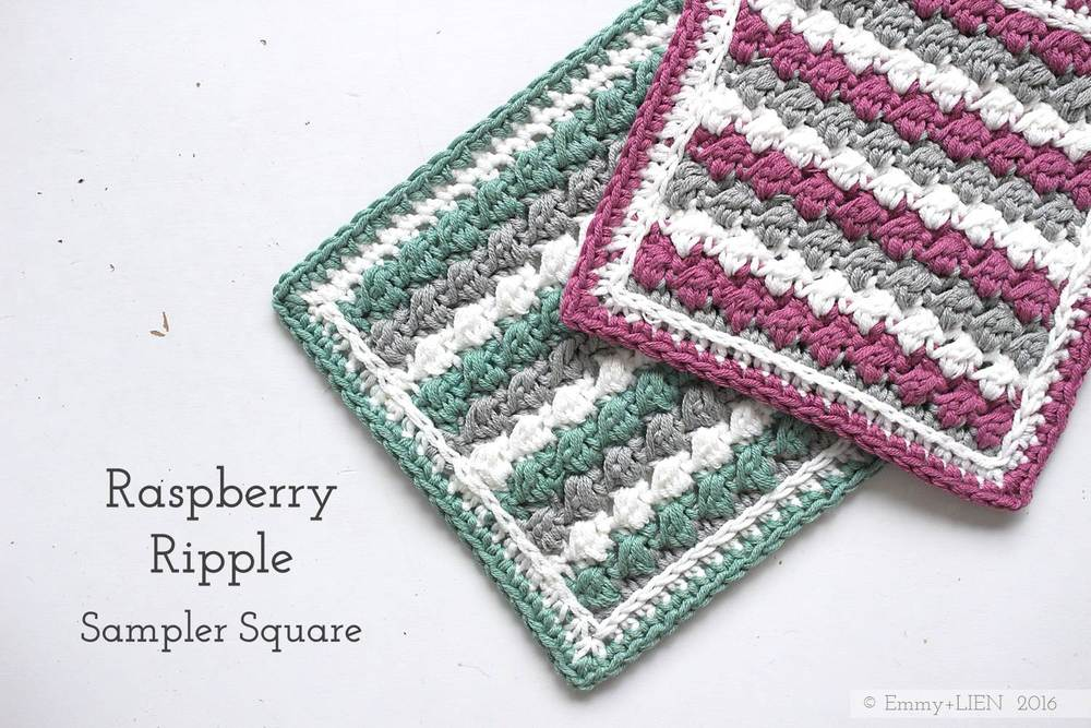 Raspberry Ripple Sampler Square | Free crochet pattern + tutorial | Emmy + LIEN blog