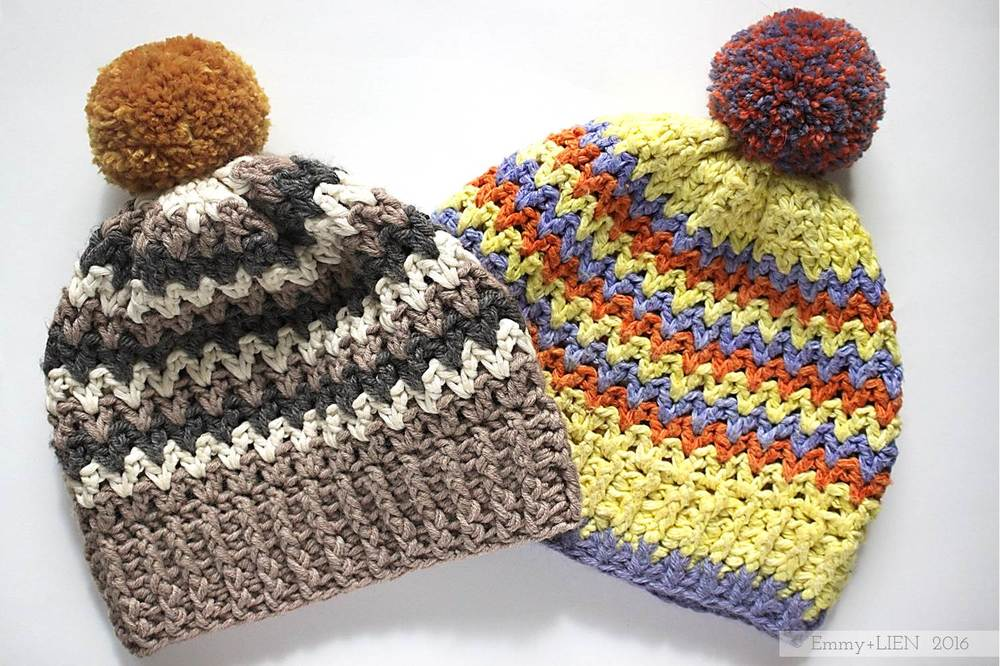 Neutral and Bright crochet hats | Lake's Edge Hat (link to pattern in post)