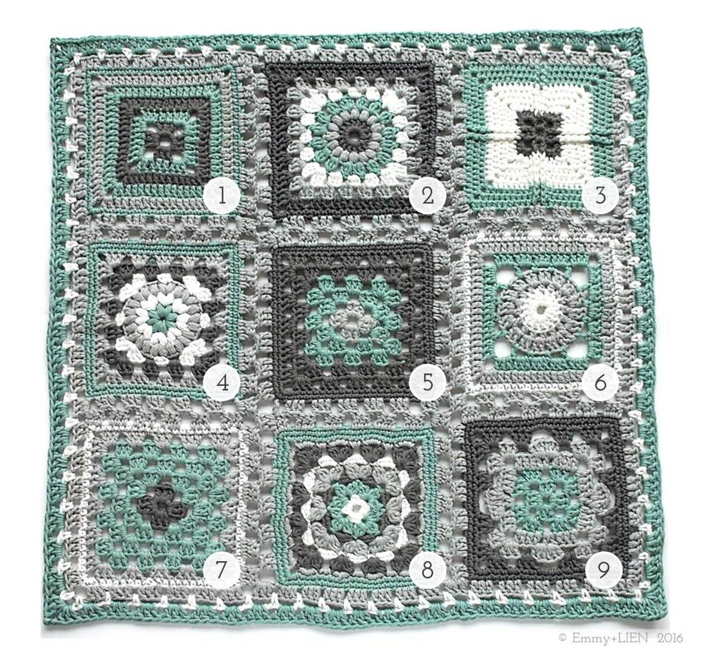 Crochet meets Patchwork Blanket by Eline Alcocer @ Emmy + LIEN | green square pattern round-up