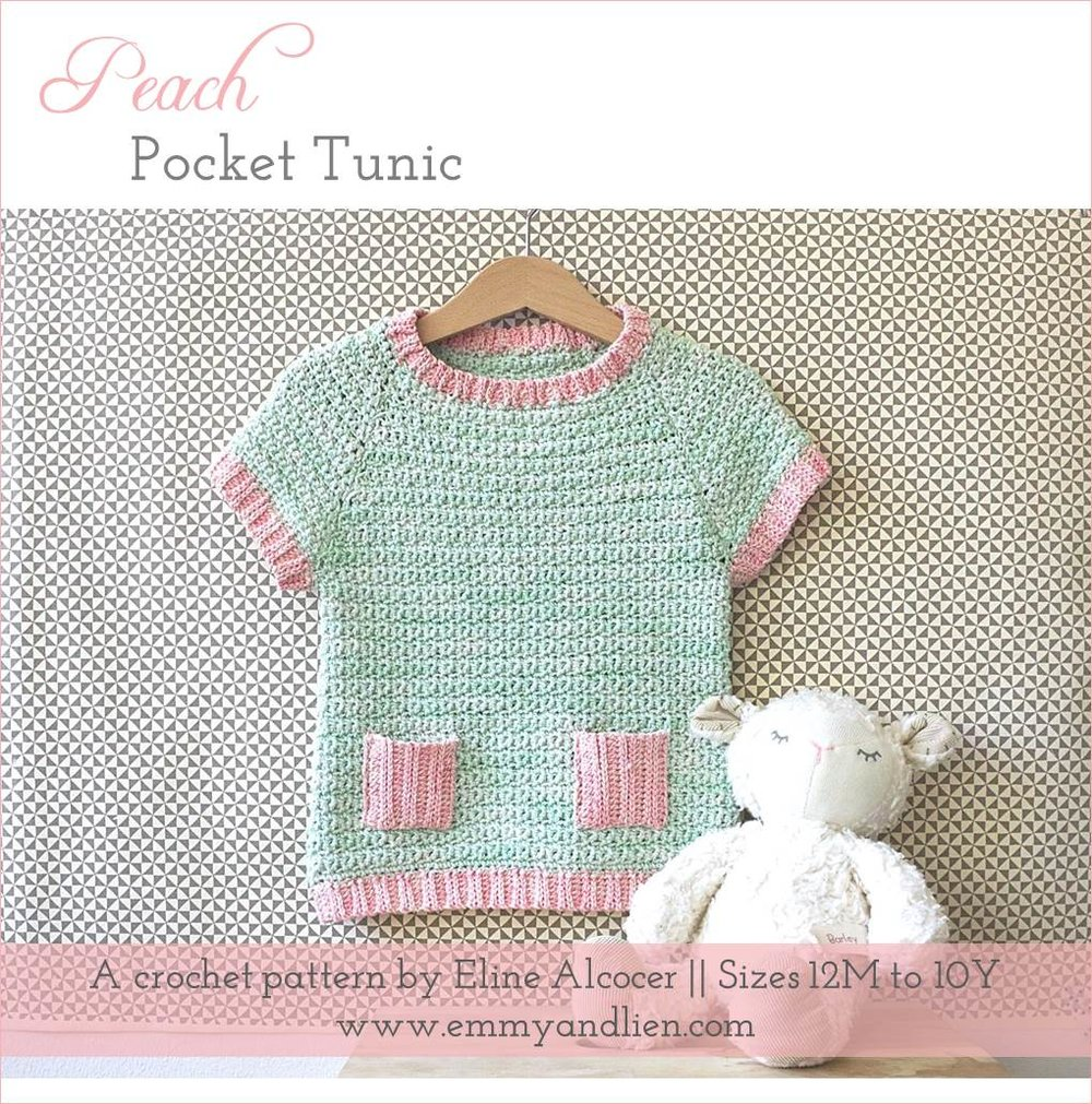 Peach Pocket Tunic crochet pattern. Available on Ravelry.