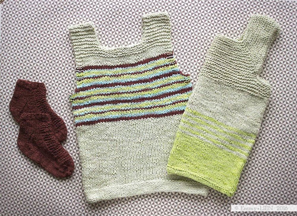 Trio of kids handknits (links to patterns in post)