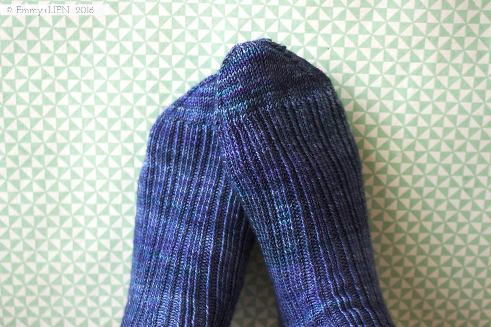 London Skies Socks | knitted by Emmy + LIEN, pattern by Clare Devine