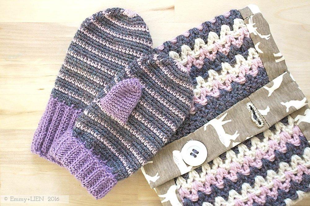 Emmy + LIEN crochet set | Nordic Pixie Mittens + Scrappy Neckwarmer