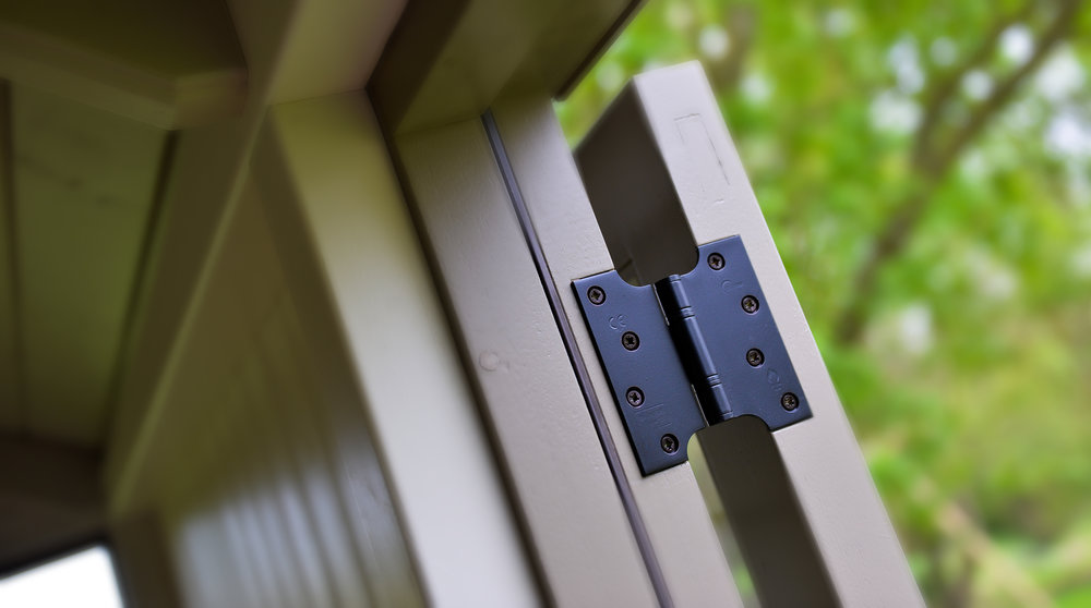Kirkpatrick hinges - one of the high quality details in the Red Sky shepherd hut