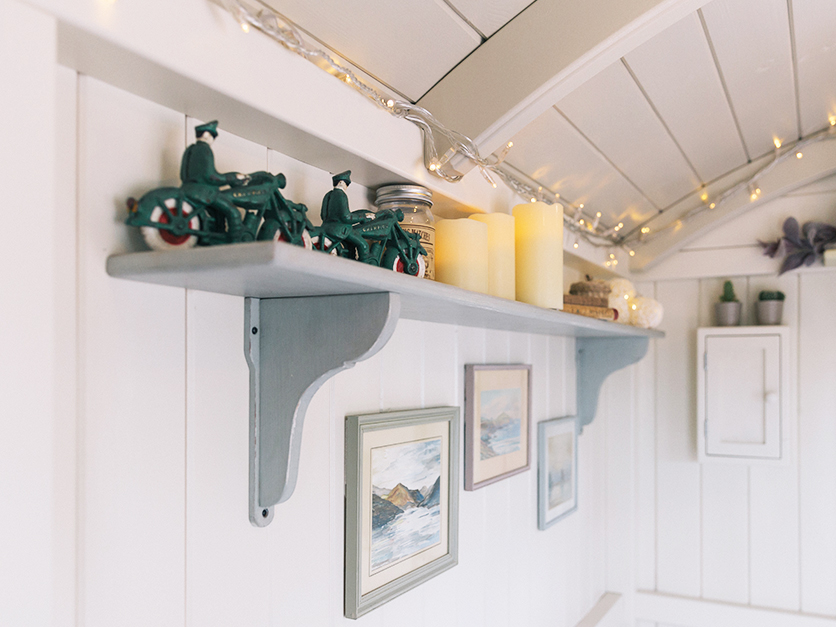 shepherds hus shelving hand made and painted