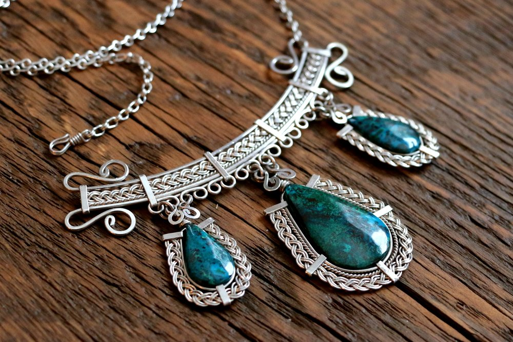 Chrysocolla Necklace - Sterling Silver.JPG