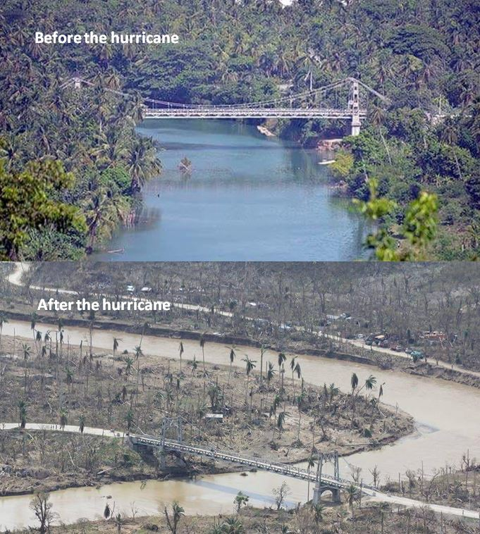 The same bridge - before and after the hurricane hit
