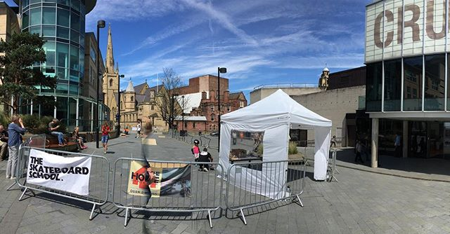 This weekend come and join us outside the Crucible in Sheffield. We will be here all weekend for the cliffhanger festival. #skateboarding #sheffield @theoutdoorcity #cliffhanger