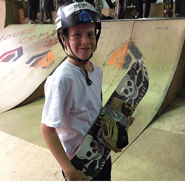 Here's our mate and skateboard school shredder Will who won second place at the @houseskatepark comp on Saturday, I think he was a bit exited 👊🏼🥈 📷 @danoxo2012 #theskateboardschool @deathskateboards @sidewalkmag