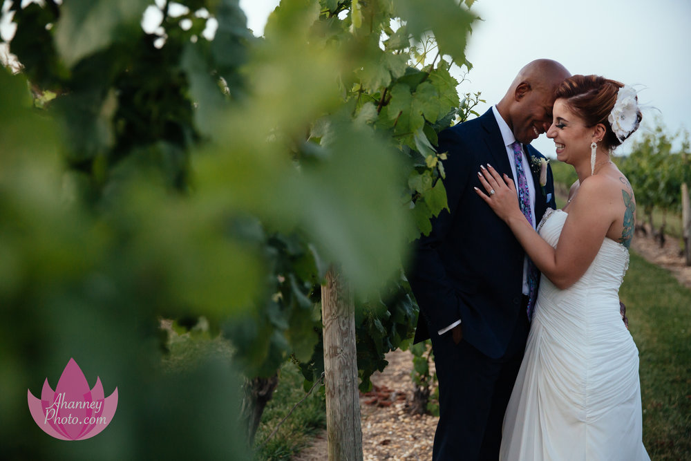 Wedding Couple in Tomasello Winery Vineyard Hammonton New Jersey Philadelphia Delaware Anastasia Hanney Photography AHanneyPhoto