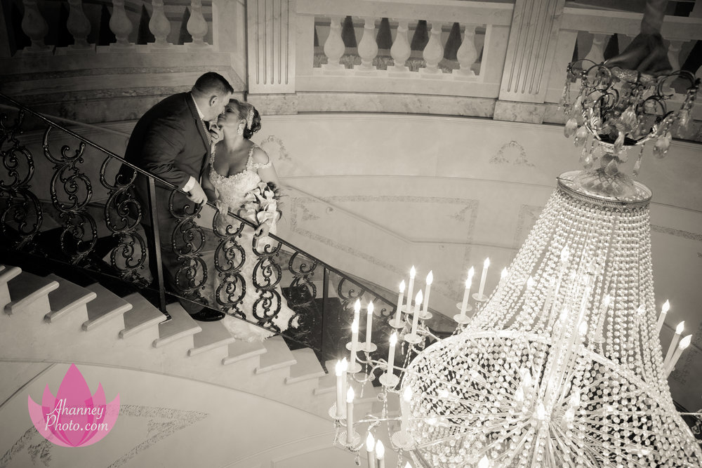 Bride and Groom on Staircase The Mansion at Main Street Wedding Couple Bride Groom Voorhees New Jersey Philadelphia Delaware Anastasia Hanney Photography AHanneyPhoto