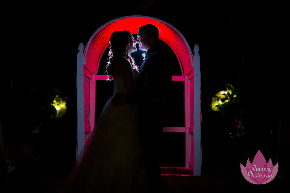 Wedding Photography of Bride and Groom Silhouette Red Arch Lakeside Mannor Gibbsboro New Jersey Anastasia Hanney Photography AHanneyPhoto