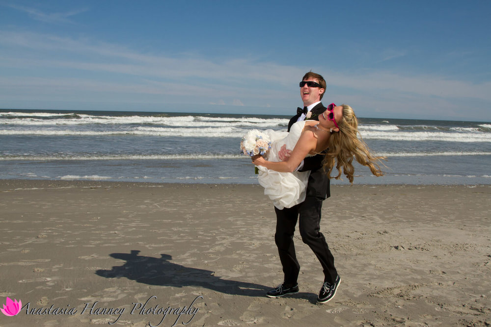 Wedding Photography of Bride and Groom on Beach in Avalon New Jersey by Anastasia Hanney Photography AHanneyPhoto