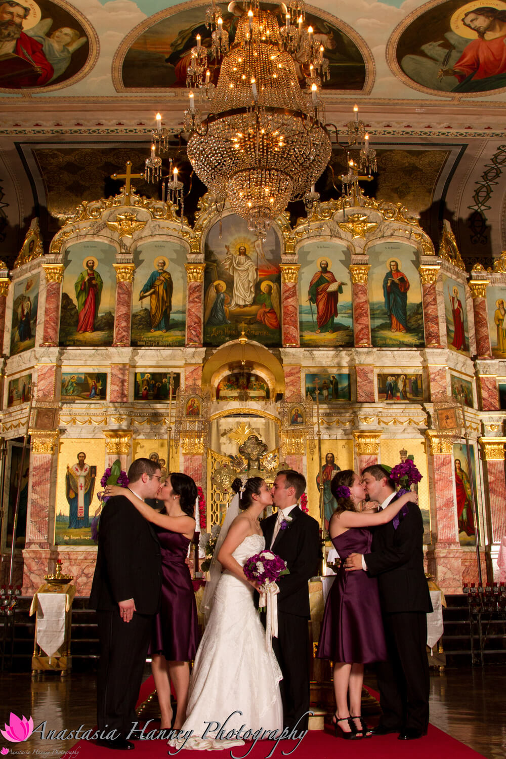 Orthodox Wedding Photography with Bridal Party in Front of Iconostas at Saint St Nicholas Eastern Orthodox Church Russian Orthodox Church in Philadelphia Pennsylvania by Anastasia Hanney Photography