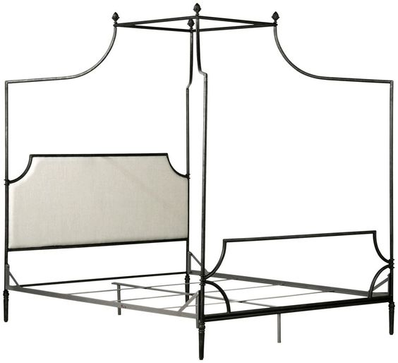 $4450 - Corsican Furniture - Olivia Upholstered Headboard Canopy Bed (above)