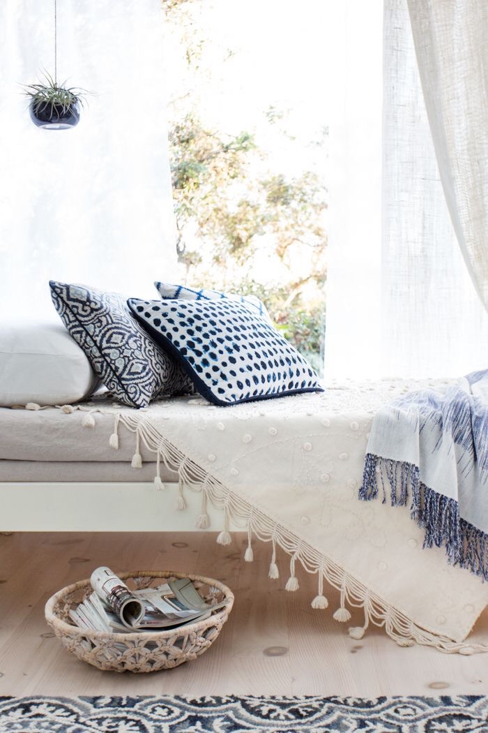 {  Emily Henderson's blue and white sunroom with Target }