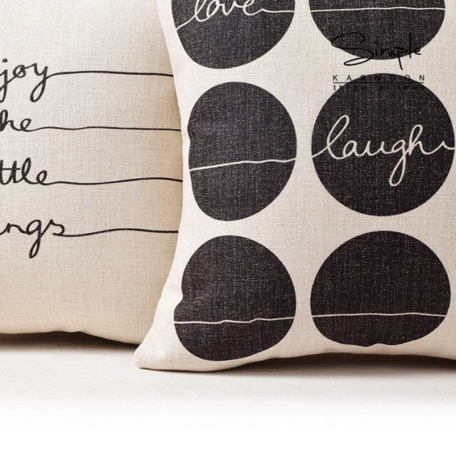 Enjoy Live Love Laugh Quotes Words Linen Pillow case cushion cover sham from $9