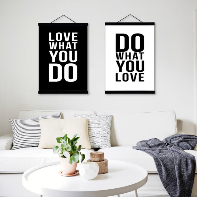 Black White Modern Minimalist Love Poster Wall Art Wuotes Gifts Canvas Paintings $7