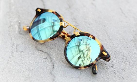Mirrored Tortoise-shell Sunglasses (Blue)