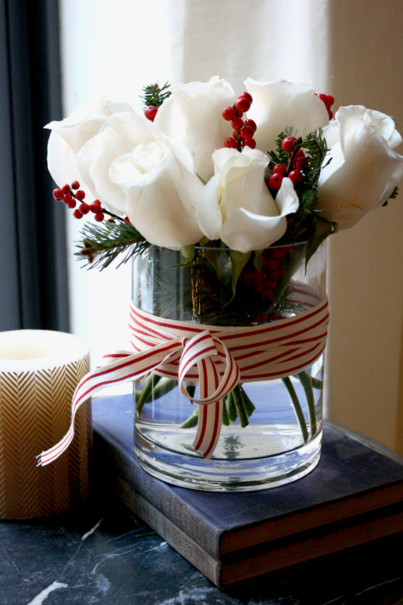 A Simple DIY using only 5 elements,  Click here  for Victoria's Easy Holiday Floral Arrangement.