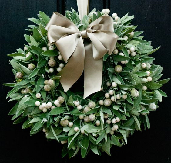 Sage and White Berry Wreath