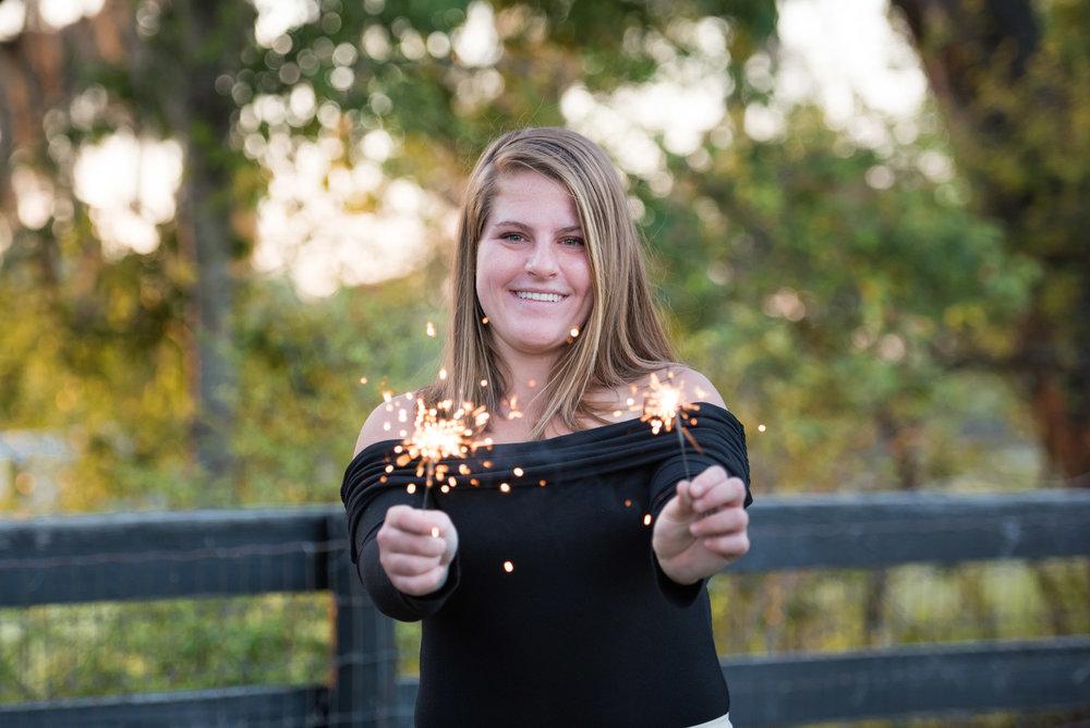 senior having fun with sparkles