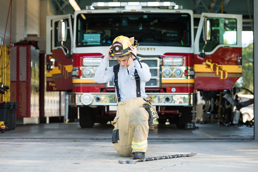 young firefighter at fire station