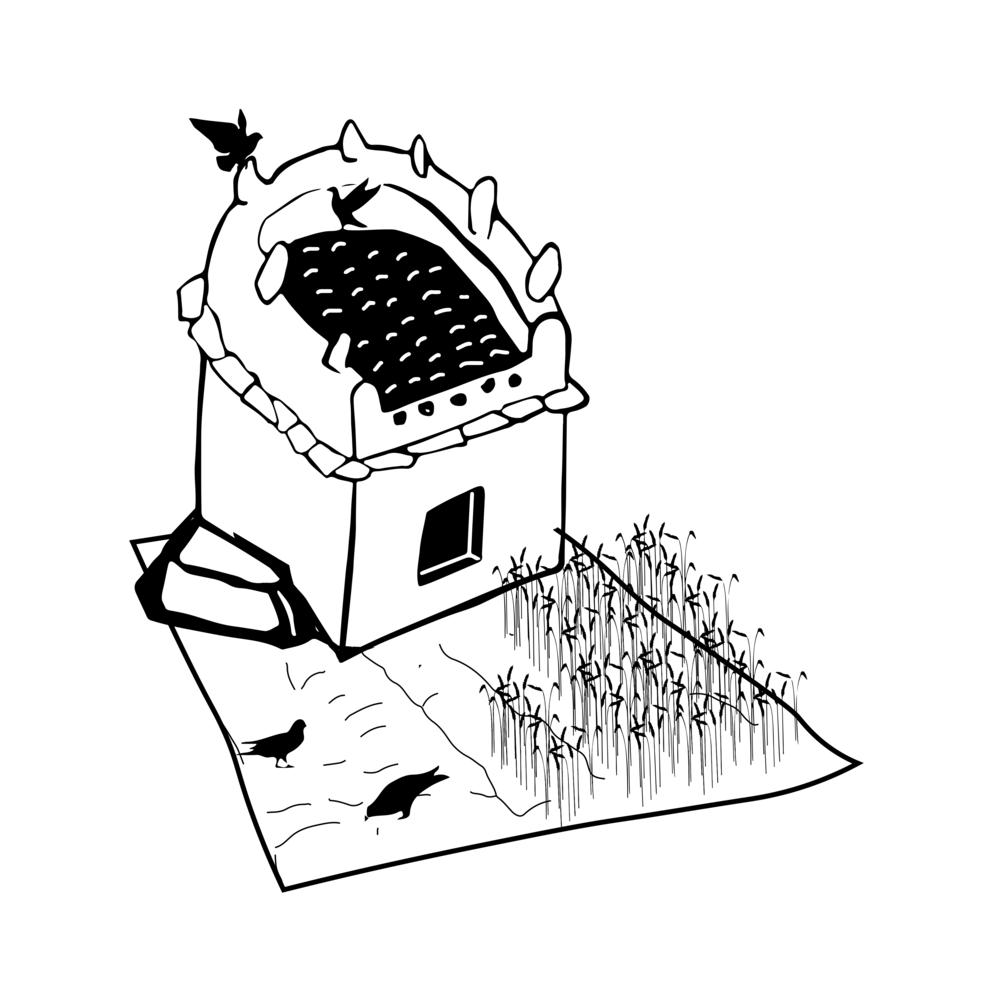 Desenho para GIF sobre pombais.