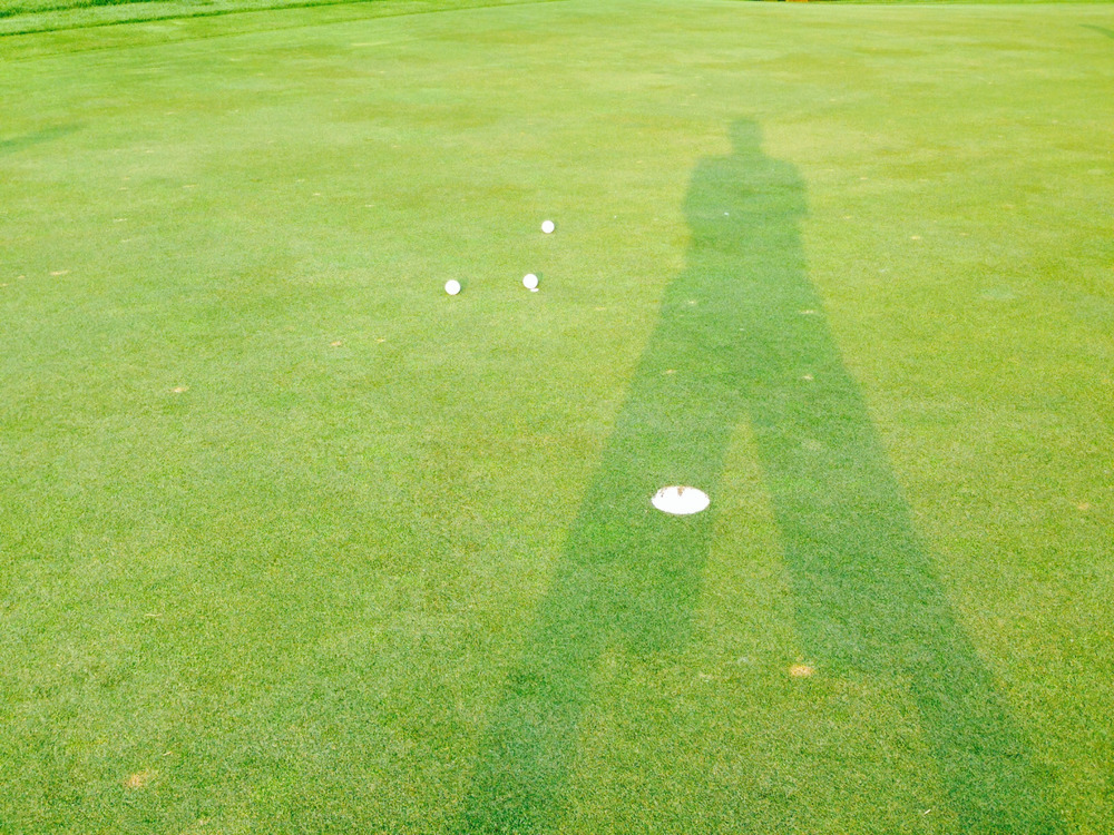 Don't think I've ever been in a foursome when three of us have hit our tee shots or approach shots so close to one another.  And/or so close to the pin.  #9 par 3 at Ozaukee last Thursday.  My ball, on the left, went in the cup for a birdie.  Finally.  This hole has been a real nemesis for me of late.  For one brief moment, it wasn't!