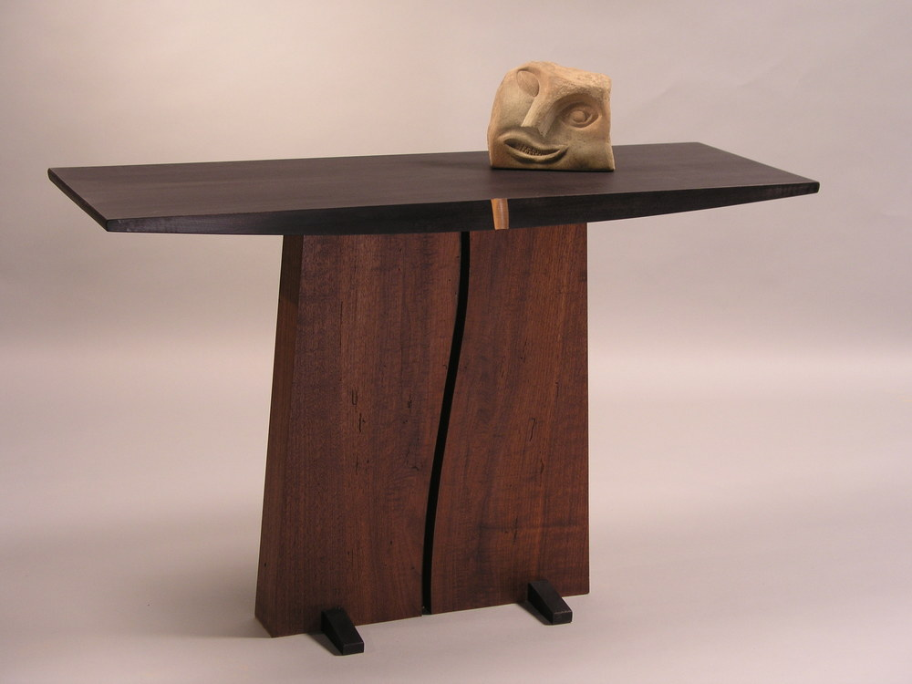 Ebonized Top With Walnut Base