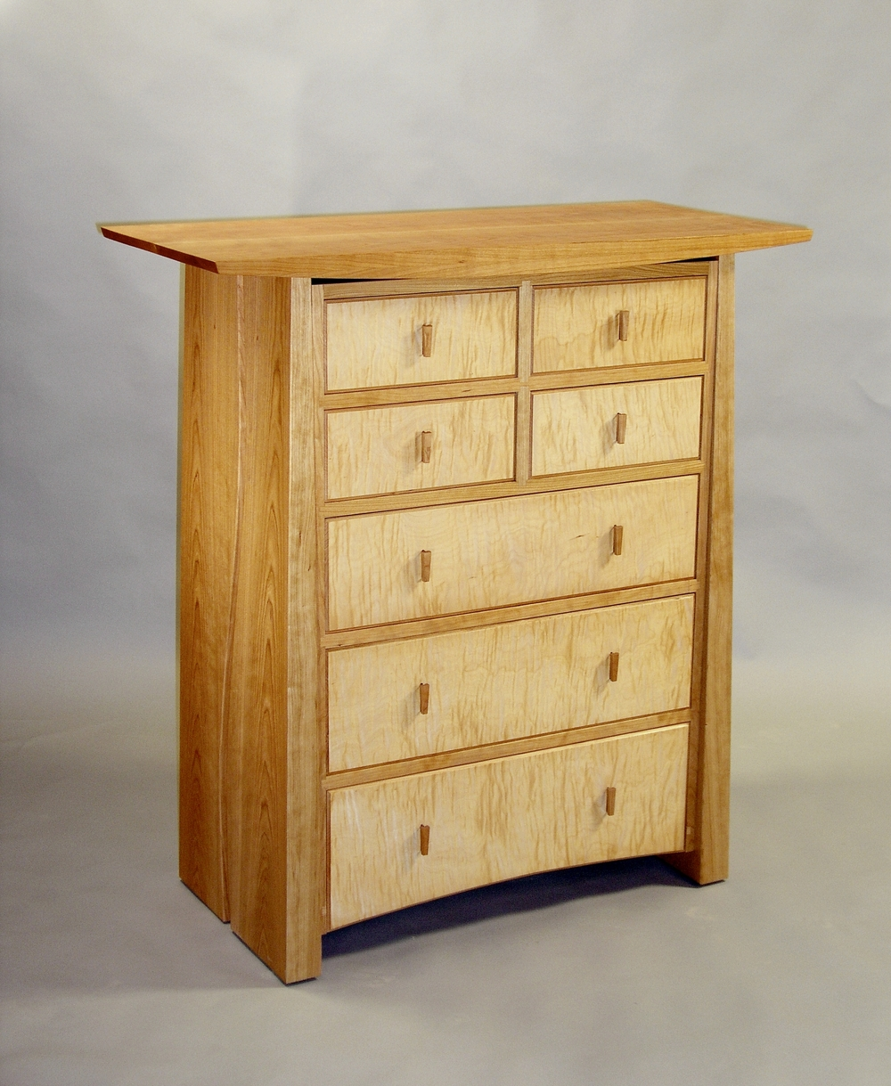7 Drawer Nightstand in birdseye maple and cherry