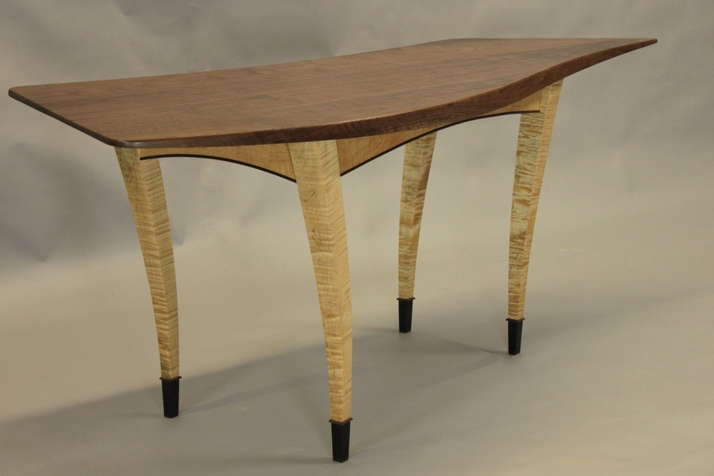 GAZELLE DESK   in walnut and tiger maple. This one was done just for fun and now resides with a friend of mine.