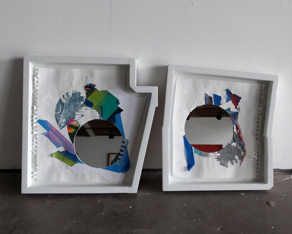 Reflect Rescue 1 & 2  2018  acrylic, spray paint, marker, and colored pencil, tape, glue, mirror in shaped frames  sizes varies