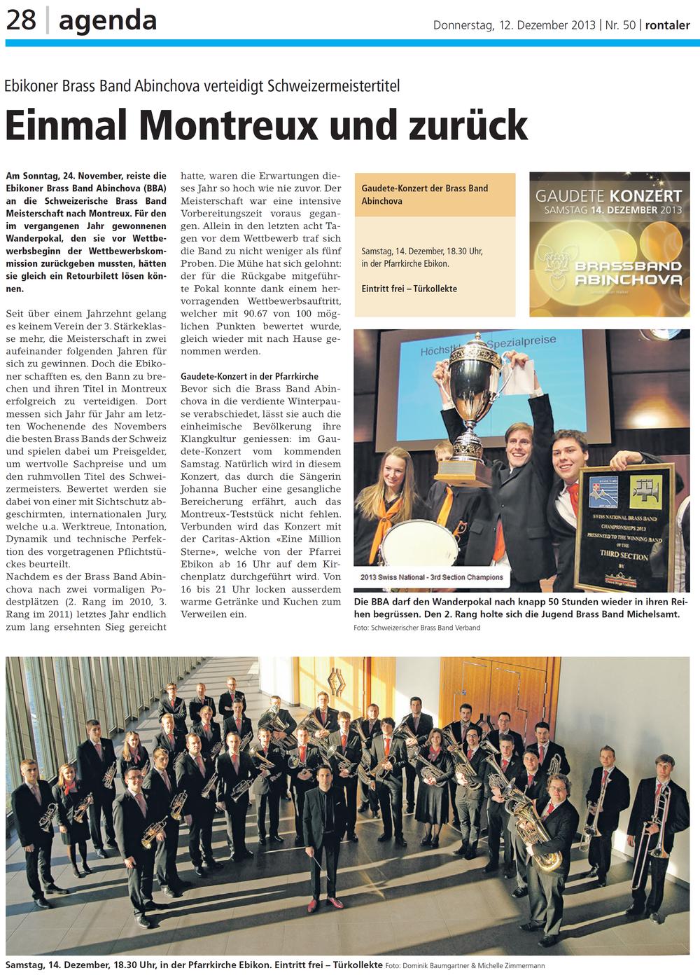 Schweizerischer Brass Band Wettbewerb 2013