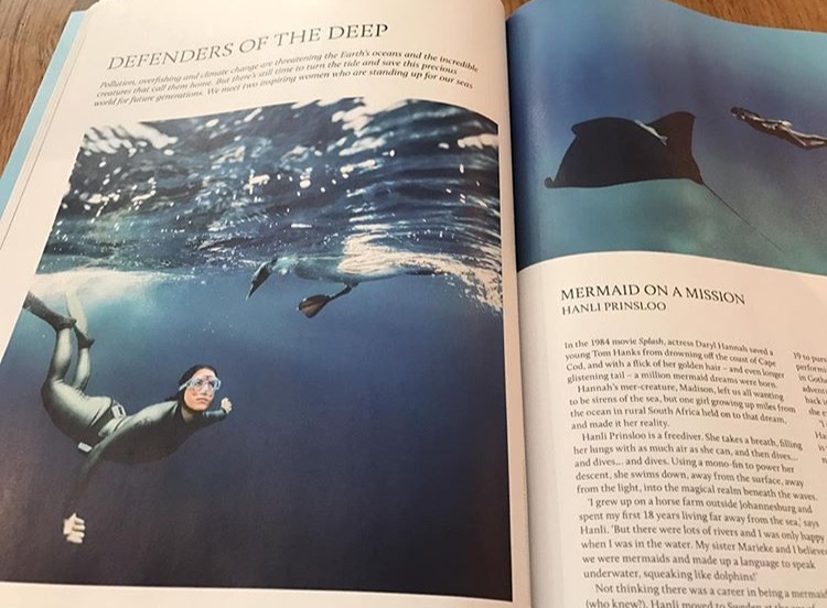 "Breathe Magazine /  Defenders of the Deep                     by Lauren Jarvis   June 2017  I've had so many awe-inspiring encounters in the ocean, and each one has its own magic, from the floating grace of a giant manta ray, to the quiet beauty of a whale shark, or playful dolphins, circling around me,"" smiles Hanli. ""But the stand-out encounter was with a young sperm whale who broke away from his large pod to play. We dived down together, eye to eye, a special dance of fins and flukes, before heading back up to breathe and down again for more..."