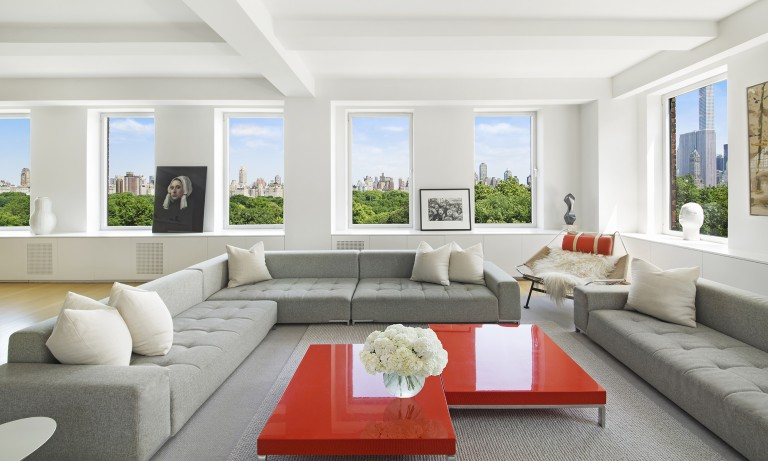 $35,000,000 USD | New York, USA | Sotheby's International Realty – East Side Manhattan Brokerage   This stunning high floor apartment at 101 Central Park West between 70th and 71st Streets was impeccably renovated by Shelton, Mindel & Associates, featured in  Architectural Digest  and offers the rare combination of contemporary living in a venerable pre-war co-op.  Approximately 7,000 square feet with more than five bedrooms and boasting a vast expanse of 100 linear feet directly on the Park. The enfilade of entertaining rooms includes a dramatic living room with wood burning fireplace, a wonderful dining room and a sun flooded corner library with lovely views to the midtown skyline.