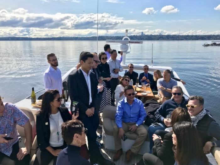 Above: AREAA guests enjoyed a waterfront home tour hosted by Realogics Sotheby's prior to the commencement of the Global + Luxury Summit.