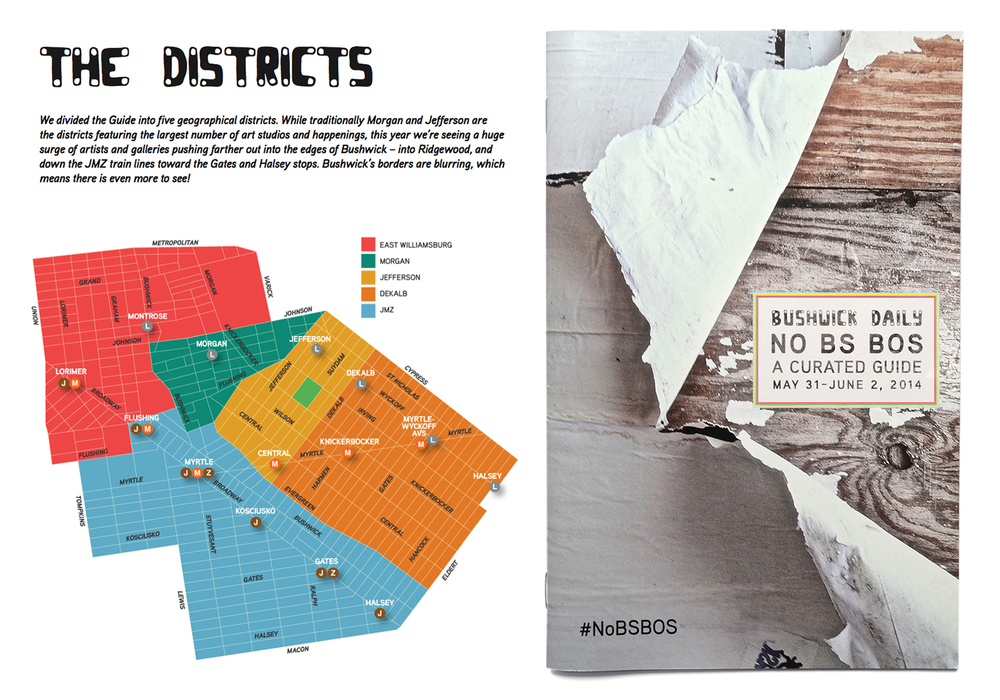 Bushwick Open Studios Map & front cover by Lucia Reed