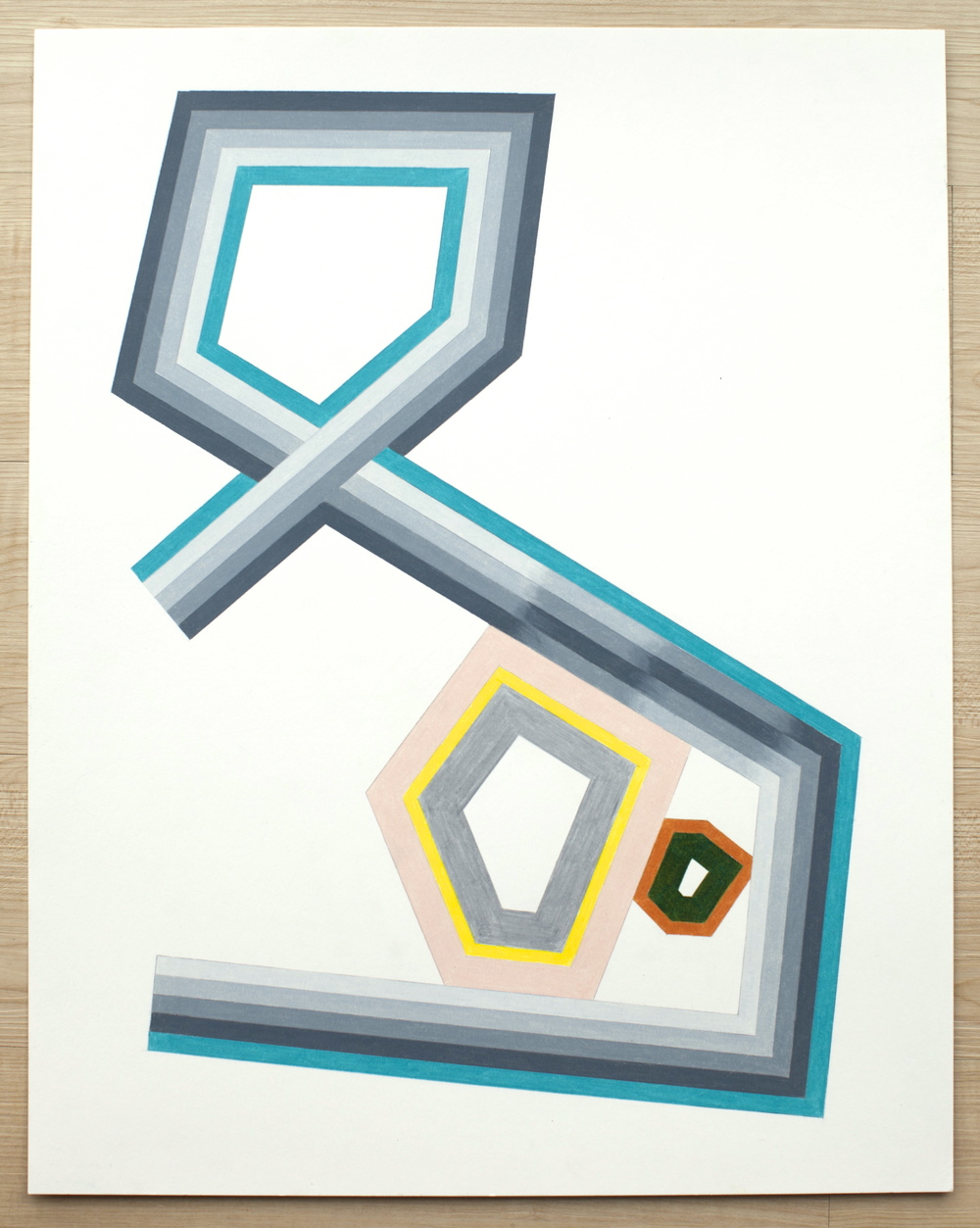 Untitled (Sheltered Polygons), 2015, colored pencil on paper, 24 x 19 inches