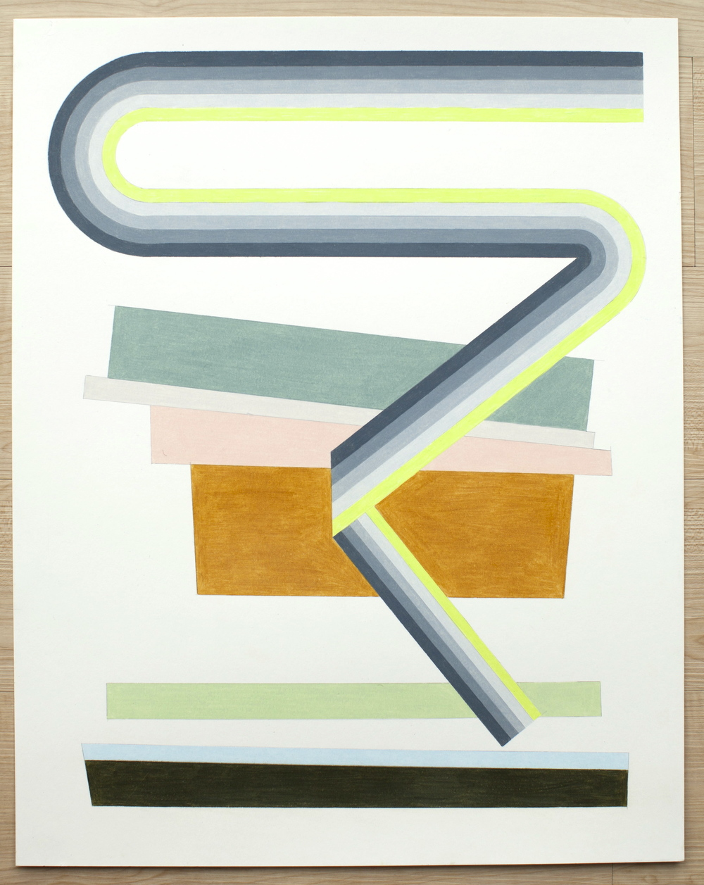 Untitled (Transition with Neon Gradation), 2015, colored pencil on paper, 24 x 19 inches