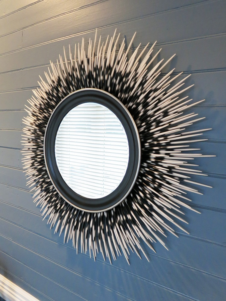 "32"" white-tip porcupine quill mirror with silver accent border"