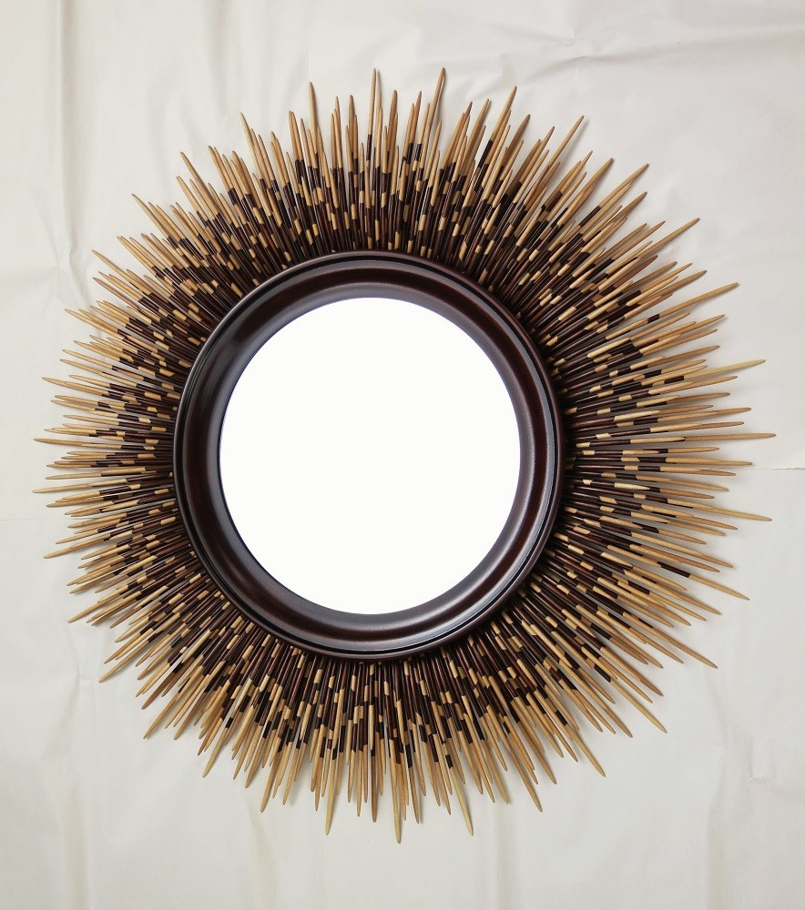 "32"" natural wood porcupine quill mirror with walnut stain"