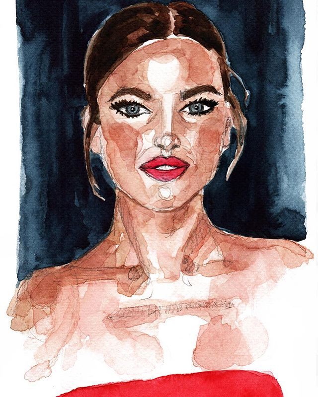 The lovely @irinashayk ❤️ Weekend femme fatal watercolor...